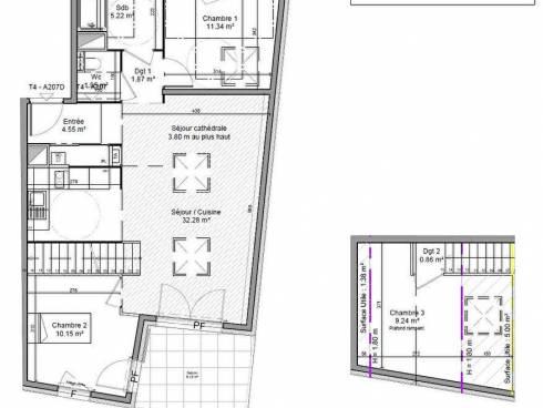 THONON -  LE CLOS D'AVULLY - F4  duplex dernier étage