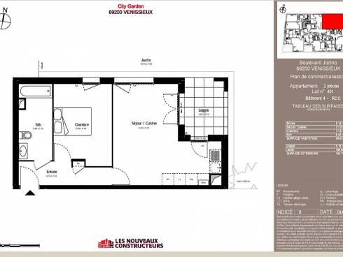 Vénissieux bel appartement T2 en rez de jardin